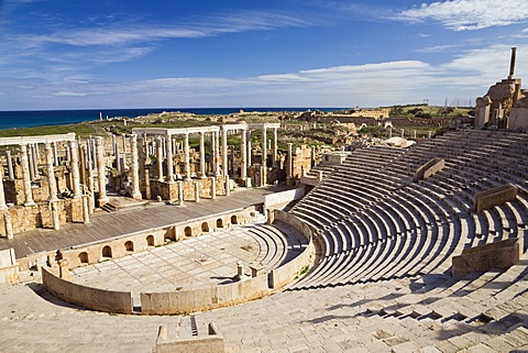 Ruins of the Roman Theatre of Leptis Magna, Libya, North Africa, Africa