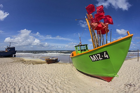 Fishing boat on the beach, Mistroy, Wolin peninsula, Poland, Europe