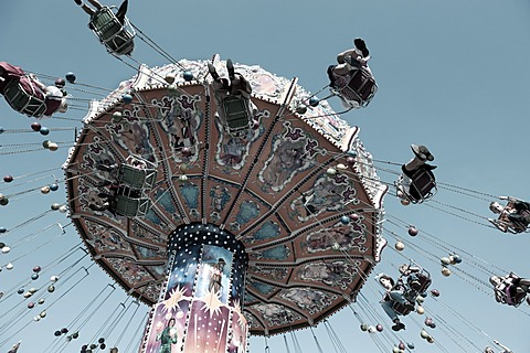 Chairoplane at the Oktoberfest festival, Munich, Upper Bavaria, Bavaria, Germany, Europe