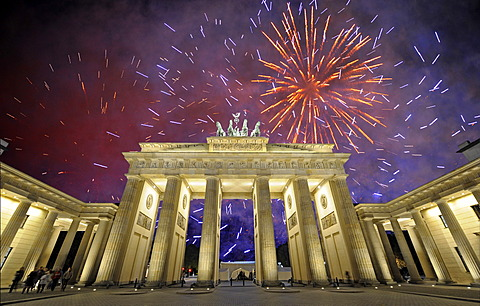 Brandenburg Gate, fireworks, Berlin, Germany, Europe