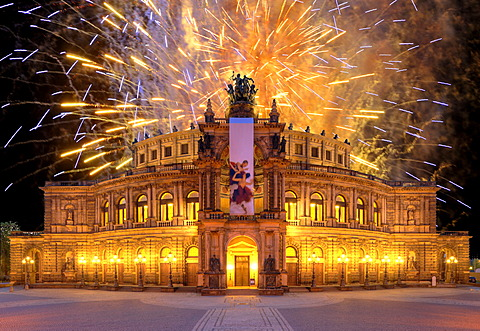 Semperoper opera, with banners, at Theaterplatz square, fireworks, Dresden, Saxony, Germany, Europe