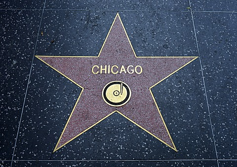 Terrazzo star for the band Chicago, music category, Walk of Fame, Hollywood Boulevard, Hollywood, Los Angeles, California, United States of America, USA, PublicGround