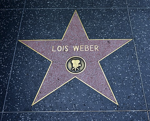 Terrazzo star for the director Lois Weber, film category, Walk of Fame, Hollywood Boulevard, Hollywood, Los Angeles, California, United States of America, USA, PublicGround