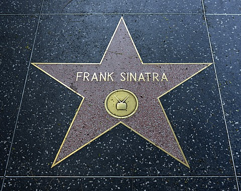 Terrazzo star for the singer actor and entertainer Frank Sinatra, television category, Walk of Fame, Hollywood Boulevard, Hollywood, Los Angeles, California, United States of America, USA, PublicGround