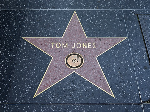 Terrazzo star for the singer Tom Jones, music category, Walk of Fame, Hollywood Boulevard, Hollywood, Los Angeles, California, United States of America, USA, PublicGround