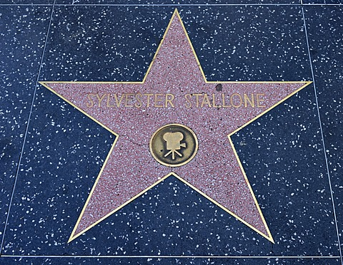 Terrazzo star for the actor Sylvester Stallone, film category, Walk of Fame, Hollywood Boulevard, Hollywood, Los Angeles, California, United States of America, USA, PublicGround
