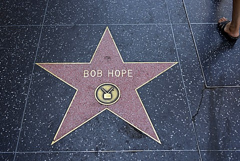 Terrazzo star for artist Bob Hope, television category, Walk of Fame, Hollywood Boulevard, Hollywood, Los Angeles, California, United States of America, USA, PublicGround
