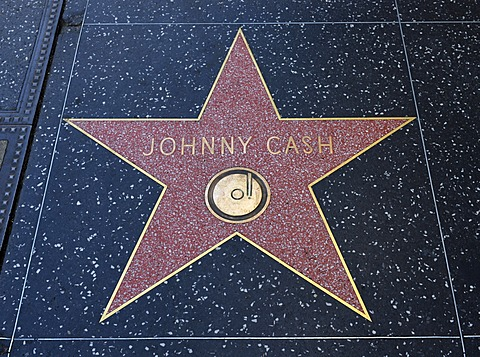 Terrazzo star for the artist Johnny Cash, music category, Walk of Fame, Hollywood Boulevard, Hollywood, Los Angeles, California, United States of America, USA, PublicGround