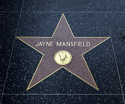 Terrazzo star for the artist Jayne Mansfield, film category, Walk of Fame, Hollywood Boulevard, Hollywood, Los Angeles, California, United States of America, USA, PublicGround