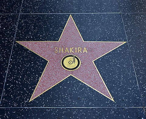 Terrazzo star for the artist Shakira, music category, Walk of Fame, Hollywood Boulevard, Hollywood, Los Angeles, California, United States of America, USA, PublicGround