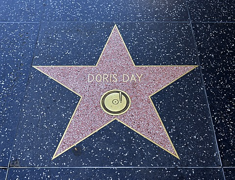 Terrazzo star for the artist Doris Day, music category, Walk of Fame, Hollywood Boulevard, Hollywood, Los Angeles, California, United States of America, USA, PublicGround