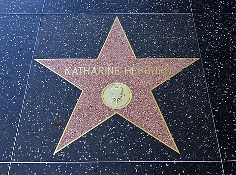 Terrazzo star for the artist Katharine Hepburn, film category, Walk of Fame, Hollywood Boulevard, Hollywood, Los Angeles, California, United States of America, USA, PublicGround