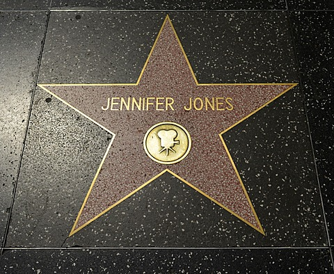 Terrazzo star for the artist Jennifer Jones, film category, Walk of Fame, Hollywood Boulevard, Hollywood, Los Angeles, California, United States of America, USA, PublicGround