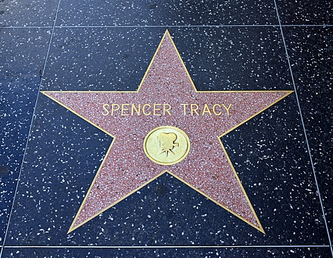 Terrazzo star for Spencer Tracy, film category, Walk of Fame, Hollywood Boulevard, Hollywood, Los Angeles, California, United States of America, USA, PublicGround