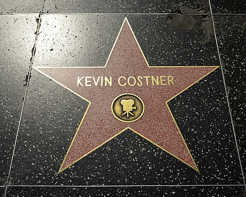 Terrazzo star for Kevin Costner, film category, Walk of Fame, Hollywood Boulevard, Hollywood, Los Angeles, California, United States of America, USA, PublicGround