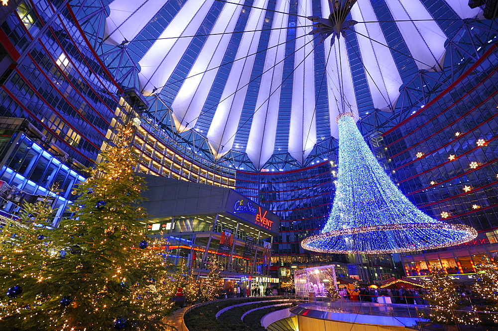 Christmas market, central forum of the Sony Center, Potsdamer Platz square, Berlin, Germany, Europe
