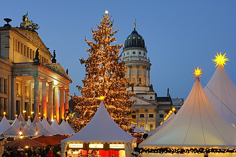 """Winter Magic at the Gendarmenmarkt"", Christmas market at Gendarmenmarkt square, Schauspielhaus theatre, French Cathedral, dusk, Berlin, Germany, Europe"