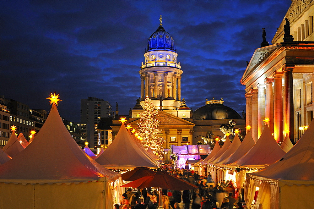 """Winter Magic at the Gendarmenmarkt"", Christmas market at Gendarmenmarkt square, German Cathedral, in the evening, Berlin Mitte, Germany, Europe"