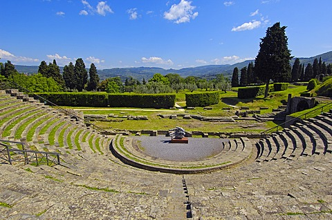 Roman theatre, Fiesole, Province of Florence, Tuscany, Italy, Europe