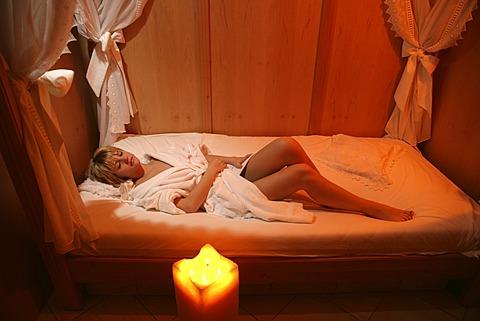 AUT, Austria, Neustift-Milders, Stubai Valley: Wellness. young woman in a spa. Relaxing.. Wellness-Spa Hotel Milderer Hof. |