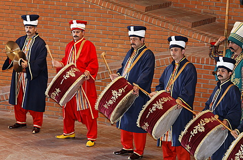Drummers in historical costumes, Janitscharen Military Chapel, Chapel Mehter, demonstration in the military museum, Askeri Mues, Osmanbey, Istanbul, Turkey - 832-370408
