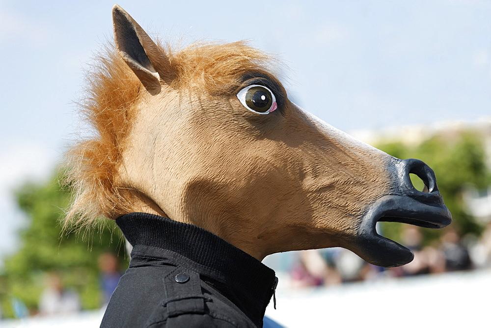 Cosplayer wearing a horse-head mask, Japan Day, Duesseldorf, North Rhine-Westphalia, Germany Europe