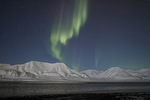 Green Northern Lights, Aurora Borealis, over the mountains of Longyearbyen lit by the crescent moon, Spitsbergen, Svalbard, Norway, Europe