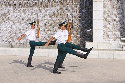 Guards at the Monument of the Independence of Turkmenistan, Ashgabat, Kazakhstan, Central Asia