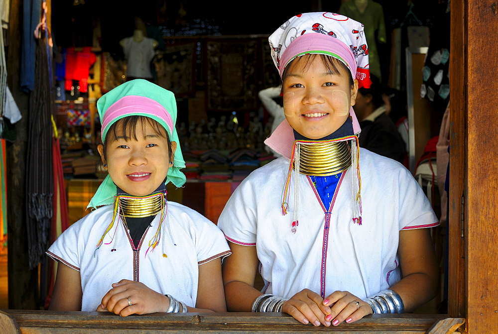 Two young girls from the long-neck Karen or Padaung tribe, Inle Lake, Myanmar, Burma, Southeast Asia, Asia - 832-370529