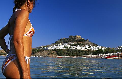 Beach, Lindos, Rhodes, Dodecanese Islands, Greece - 832-370597