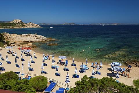 Beach of the Grand Hotel Smeraldo, Porto Cervo, Costa Smeralda, Sardinia, Italy, Europe