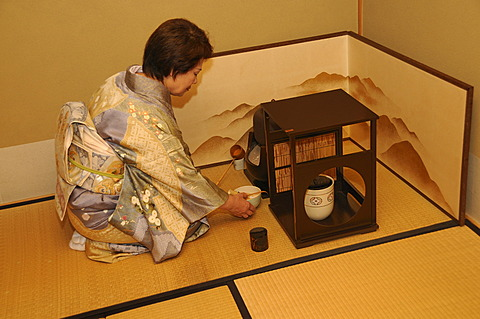 Tea ceremony in a private teahouse in Iwakura in Kyoto, Japan