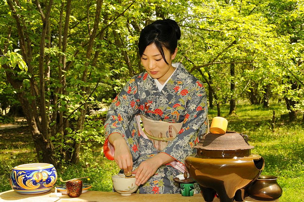 Outdoor tea ceremony in Kyoto, Japan, Asia