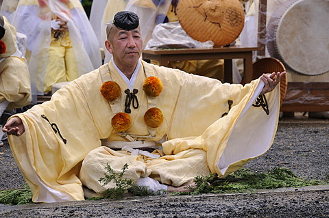 Yamabushi follower, mountain ascetics, Buddhist sect, priest invoking the deity at the fire, Iwakura, Japan, East Asia, Asia