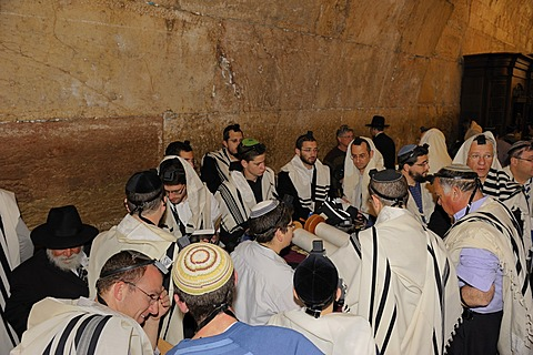 Bar Mitzvah, Jewish coming of age ritual, Western Wall or Wailing Wall, Old City of Jerusalem, Arab Quarter, Israel, Middle East