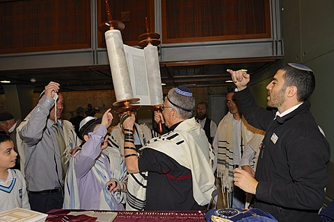 Bar Mitzvah, Jewish coming of age ritual, men holding up Torah scroll, Western Wall or Wailing Wall, Old City of Jerusalem, Arab Quarter, Israel, Middle East