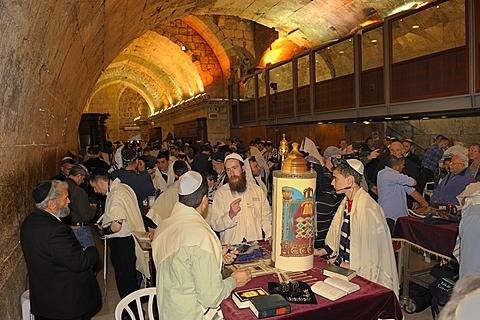 Torah scroll standing on the table for the bar mitzvah, beginning of Jewish adulthood for boys, Wailing Wall, old town of Jerusalem, Israel, Middle East