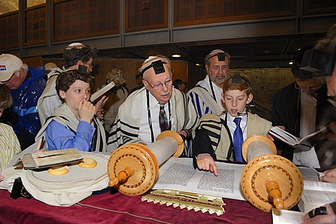 Bar Mitzvah, beginning of Jewish adulthood for boys, Wailing Wall, old town of Jerusalem, Israel, Middle East