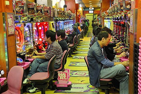 Pachinko, gambling devices, giant amusement arcade with slot machines, the most popular gambling game in Japan, Kyoto, East Asia, Asia