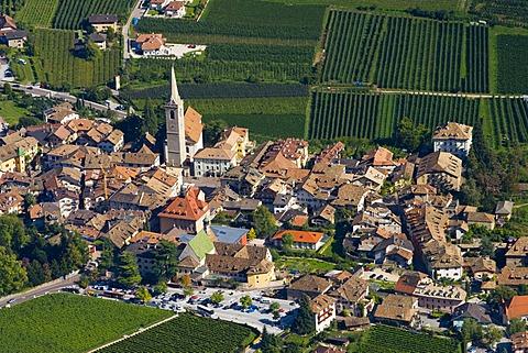 Aerial view of a village, Kaltern, province of Bolzano-Bozen, Italy, Europe