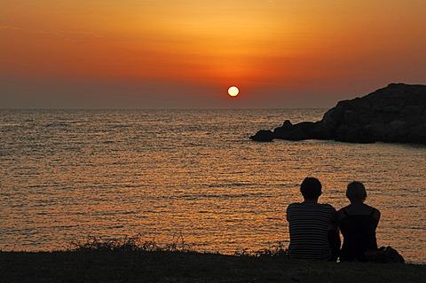 Sunset in Lefkos, Karpathos, Aegean Islands, Aegean Sea, Greece, Europe