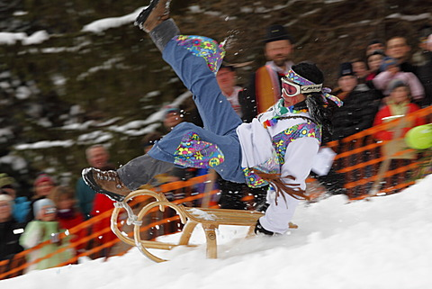 Woman falling off a sled, Gaissach schnabler and sled race, carnival custom, Gaissach, Isarwinkel, Upper Bavaria, Bavaria, Germany, Europe