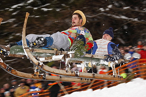 Gaissach schnabler and sled race, carnival custom, Gaissach, Isarwinkel, Upper Bavaria, Bavaria, Germany, Europe