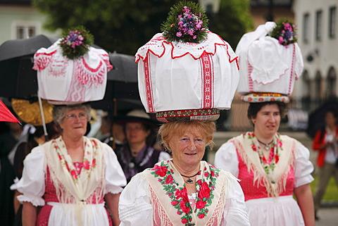 Women in traditional costume from Gosau in Upper Austria, Narzissenfest Narcissus Festival in Bad Aussee, Ausseer Land, Salzkammergut area, Styria, Austria, Europe