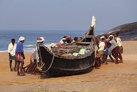 Fishermen pulling their boat on a beach south of Kovalam, Malabar Coast, Malabar, Kerala, southern India, India, Asia