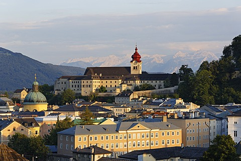 View of Nonnberg monastery and the Cajetan church as seen from Kapuzinerberg mountain, Salzburg, Austria, Europe, PublicGround
