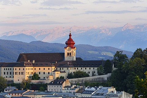 Nonnberg monastery as seen from Kapuzinerberg mountain, Salzburg, Austria, Europe, PublicGround