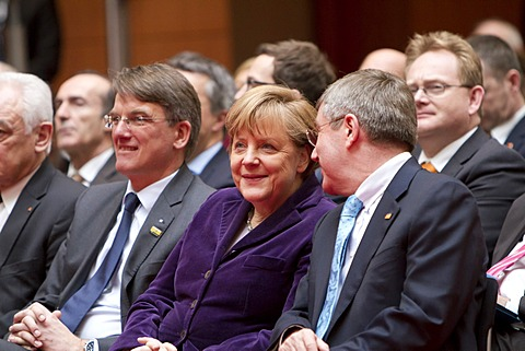 From left to right: Uwe Froehlich, President of the Federal Association of German Cooperative Banks, BVR, Angela Merkel, German Federal Chancellor, Dr. Thomas Bach, President of the DOSB, Goldene Sterne des Sports 2011 award ceremony, Berlin, Germany, Eur