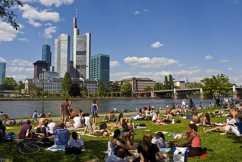 Bank of the River Main with people out in the sun, behind it the banking quarter with the Commerz Bank, Frankfurt, Hesse, Germany, Europe