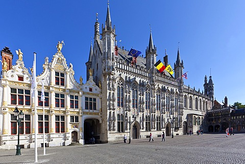 Grote Markt square, Civiele Griffie, records office and Stadhuis, city hall, old town of Bruges, UNESCO World Heritage Site, West Flanders, Flemish Region, Bruges, Belgium, Europe